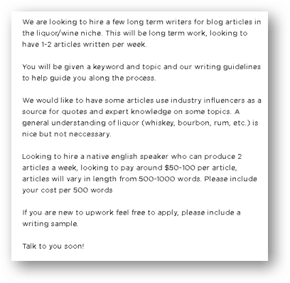 Example of a job posting for an influencer