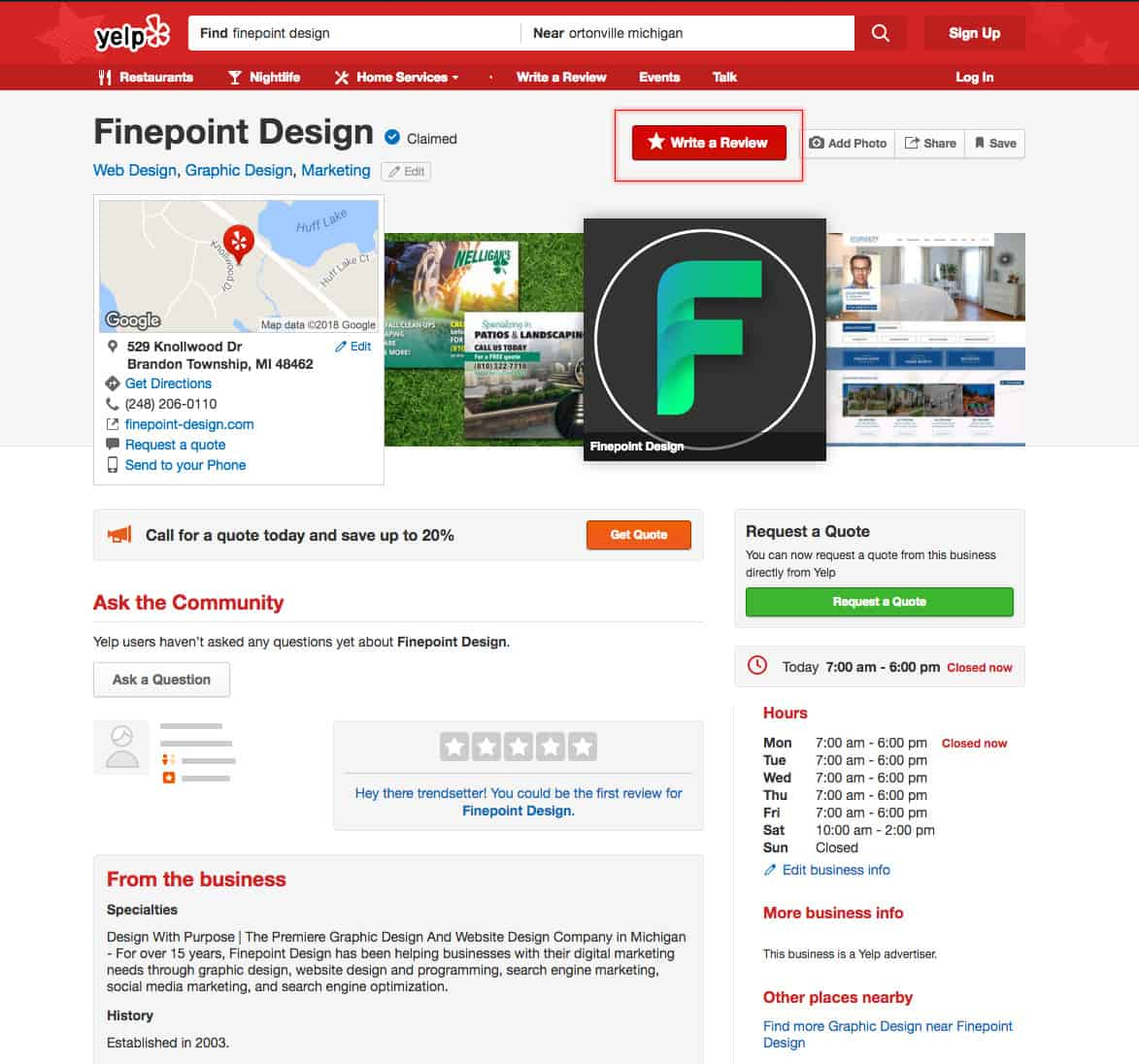 Finepoint Design Yelp Review