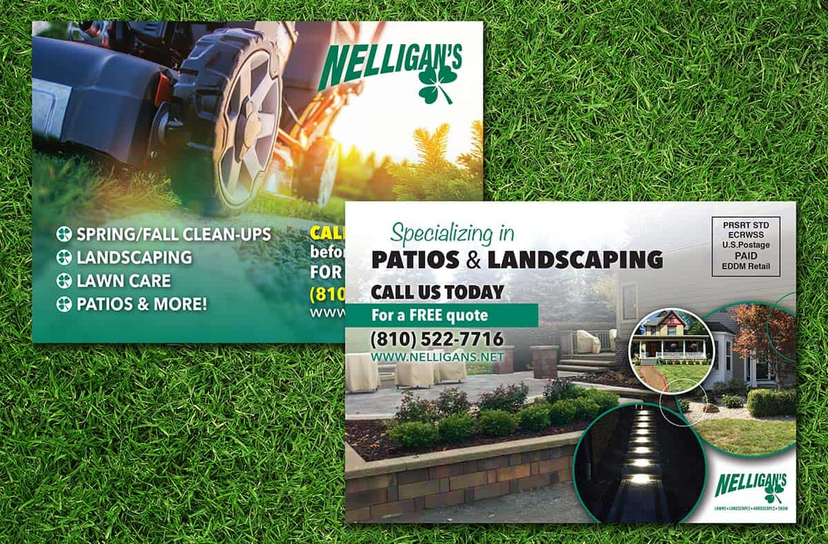 nelligans landscaping postcard mailers