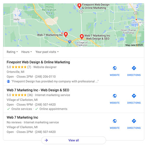 Google 3 pack for local SEO